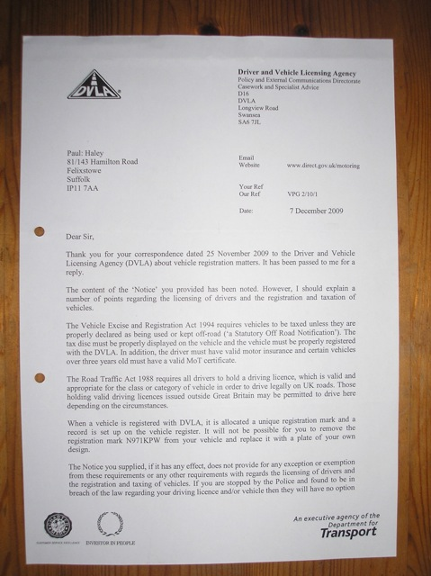 Project freeman phase3b23 notice to dvla here is the full letter spiritdancerdesigns Image collections